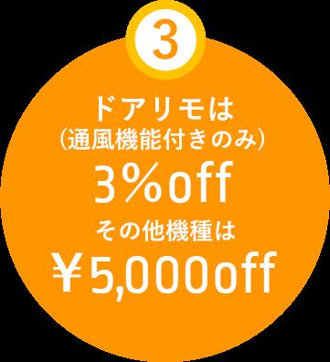 ドアリモは(通風機能付きのみ)3%off その他機種は¥5,000off
